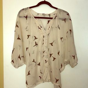 Black Rainn Peasant Bird Blouse
